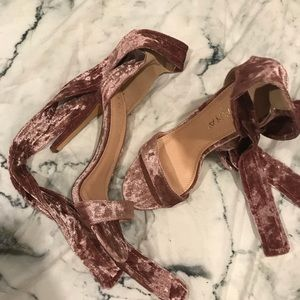 Dusty pink Velvet strappy sandals